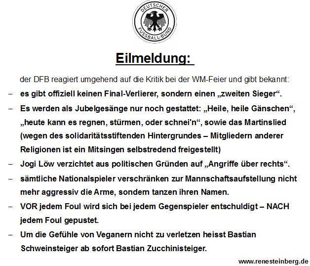 Rene Steinbergs DFB-Eilmeldung